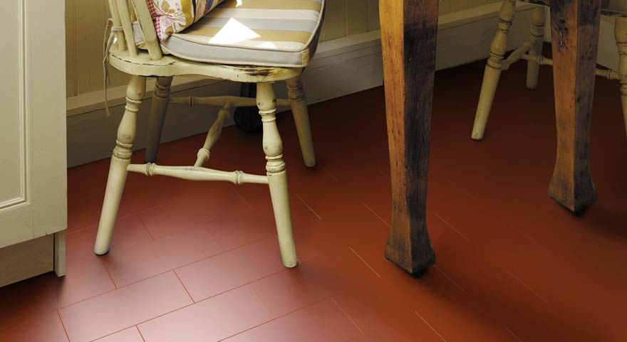 Little Bricks Kitchen Vinyl Flooring in Venetian Red